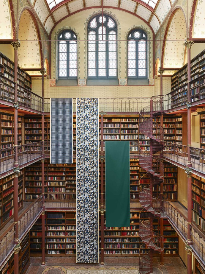 Herm�s fabrics at the library of the Rijksmuseum Amsterdam for Le Monde d'Herm�s