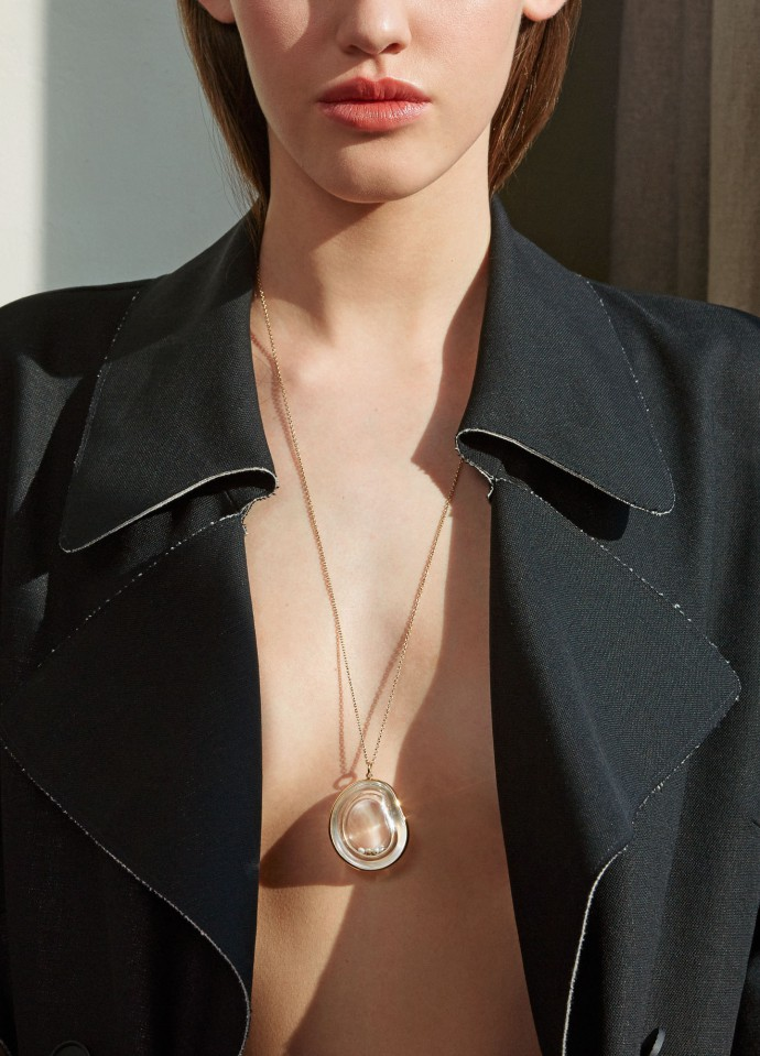 necklace by bibi van der velden. coat by marni