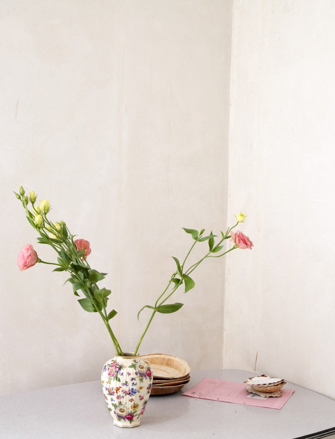 still life photography with flowers